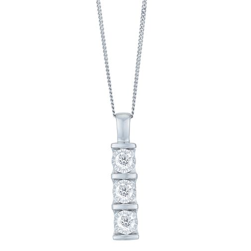 9ct White Gold 1/4 Carat Diamond 3 Stone Bar Set Pendant - Product number 6245706