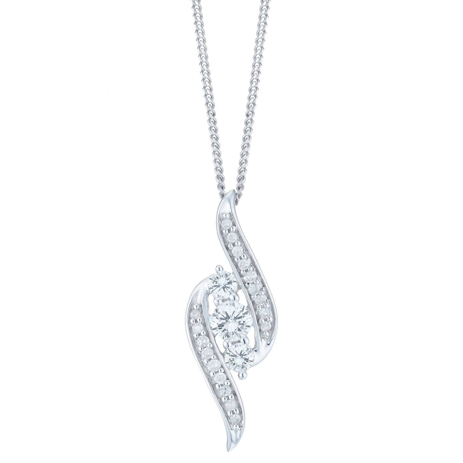 9ct White Gold 0.25ct Total Diamond 3 stone Pendant - Product number 6245730
