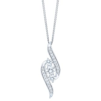 9ct White Gold  & 1/4ct Diamond 3 stone Pendant - Product number 6245730