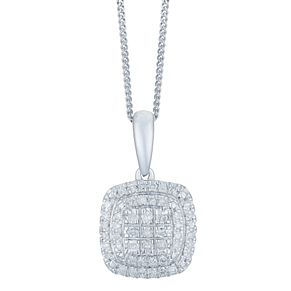 9ct White Gold 0.15 Carat Diamond Cluster Pendant - Product number 6245749