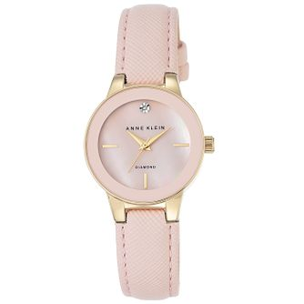 Anne Klein Ladies' Diamond Set Pink Leather Strap Watch - Product number 6246052