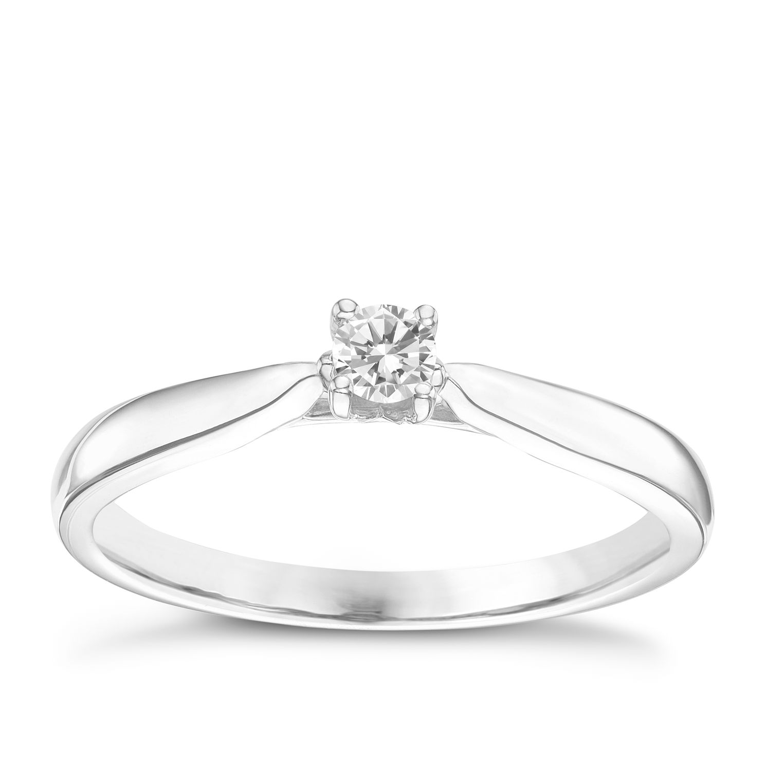 9ct White Gold 0.10ct Diamond Solitare Ring - Product number 6248209