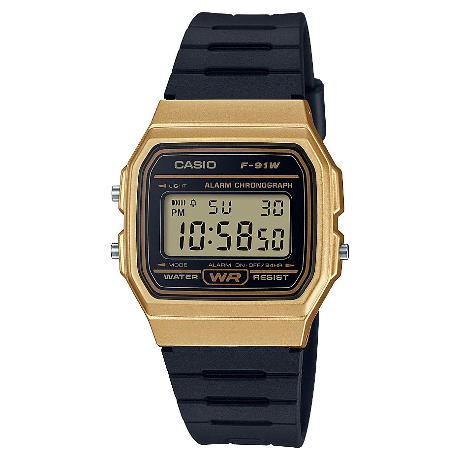 Casio Men's Black Resin Strap Gold Case Digital Watch - Product number 6251021