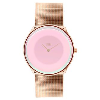 STORM Ladies' Rose Gold Plated Pink Dial Mesh Bracelet Watch - Product number 6251544