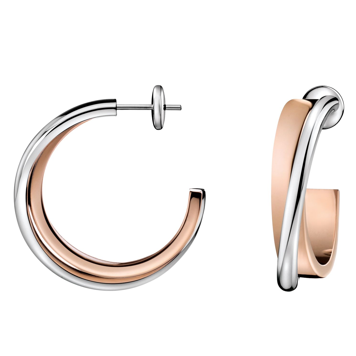 Calvin Klein Rose Gold Tone Coil 3/4 Hoop Earrings - Product number 6253482