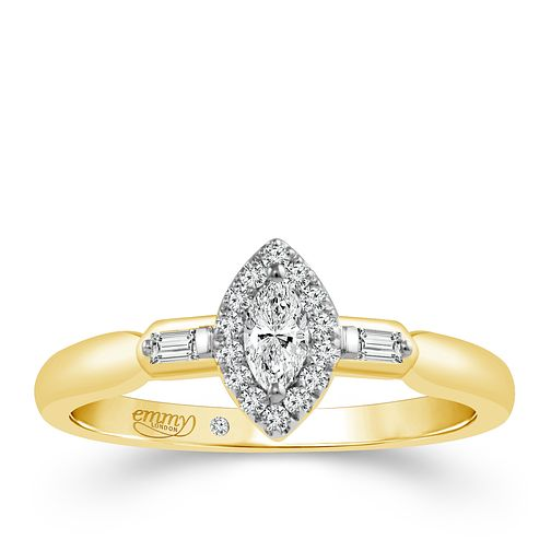 Emmy London 18 Carat Yellow Gold 1/4 Carat Diamond Ring - Product number 6256422