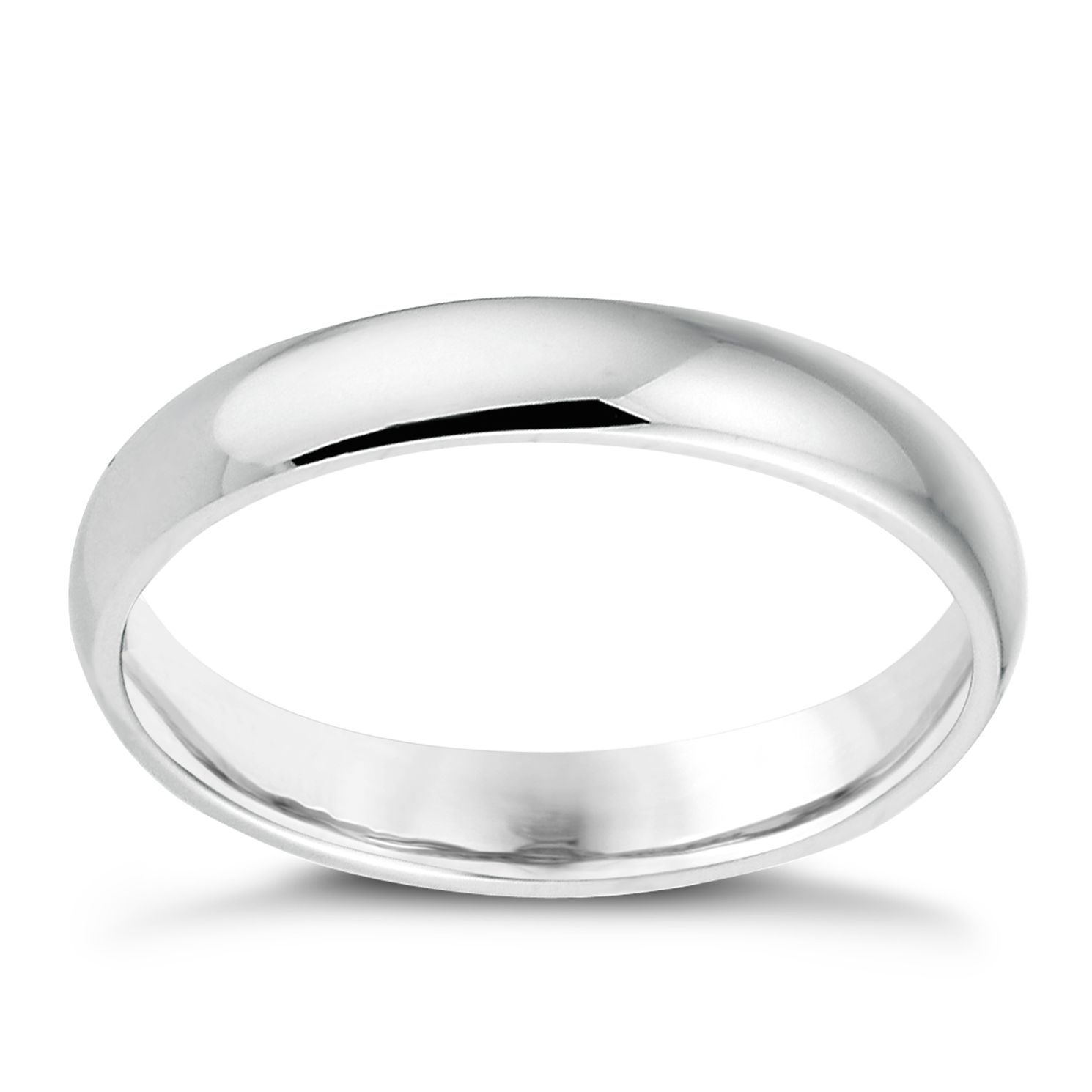 18ct White Gold 3mm Extra Heavyweight D Shape Ring - Product number 6263755