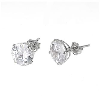 9ct White Gold Cubic Zirconia Round Claw Stud Earrings 9mm - Product number  6300421 e7387fda6d69