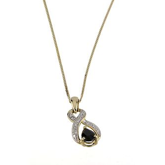9ct Yellow Gold Sapphire & Diamond Pendant - Product number 6312551