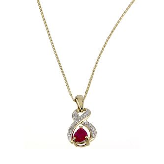 9ct Yellow Gold Ruby & Diamond Pendant - Product number 6312713
