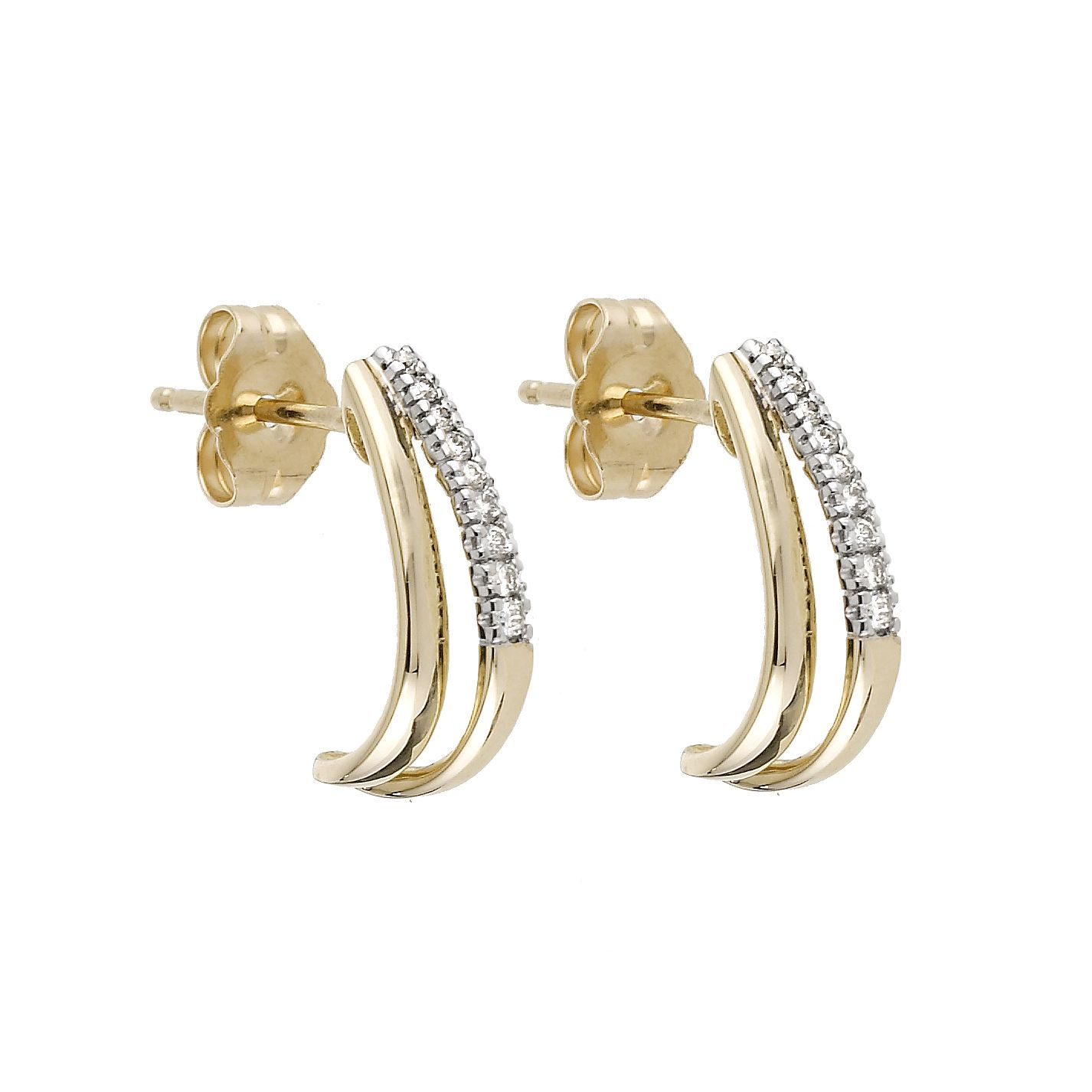 9ct Yellow Gold 1/10ct Diamond Half Hoop Earrings - Product number 6317952