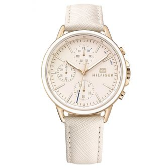 Tommy Hilfiger Ladies' Cream Textured Leather Strap Watch - Product number 6319823