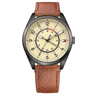 Tommy Hilfiger Men's Brown Leather Strap Watch - Product number 6319866
