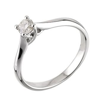 18ct White Gold Quarter Carat Diamond Classic Solitaire Ring - Product number 6332870