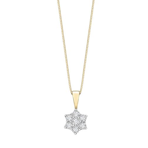 18ct gold 0.50ct diamond daisy cluster pendant - Product number 6334903
