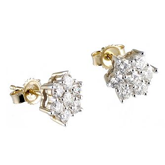 18ct Gold 1ct Total Diamond Daisy Stud Earrings - Product number 6335063