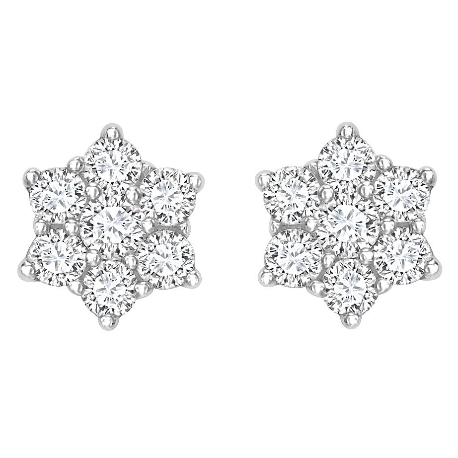 18ct Gold 0.50ct Total Diamond Daisy Cluster Stud Earrings - Product number 6335071