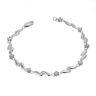 9ct White Gold Cubic Zirconia Wave Bracelet - Product number 6342574