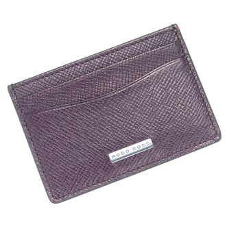 Hugo Boss Signature Men's Berry Leather Card Holder - Product number 6344631