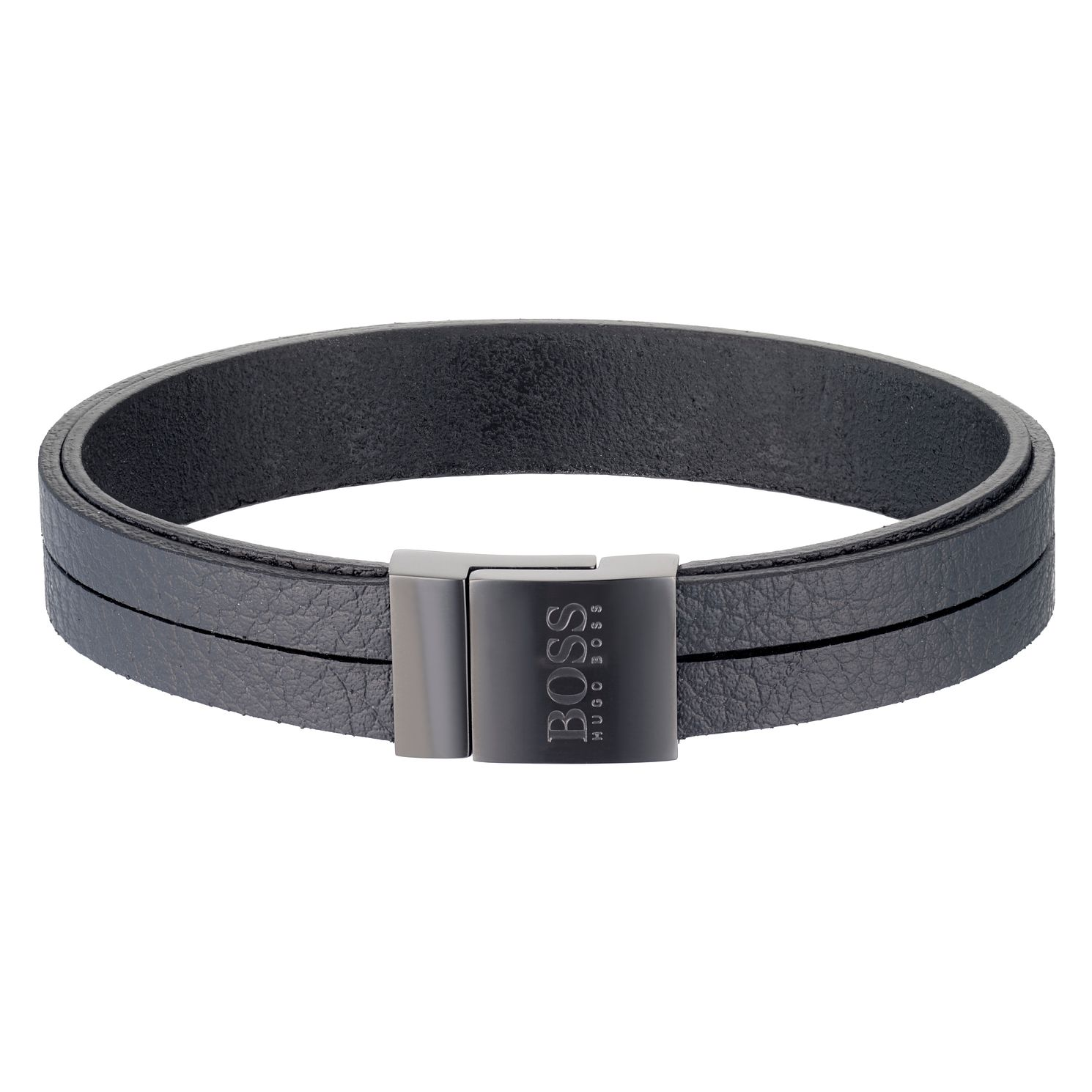 BOSS Men's Black Leather Bracelet - Product number 6344879