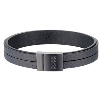 Hugo Boss Men's Black Leather Bracelet - Product number 6344879