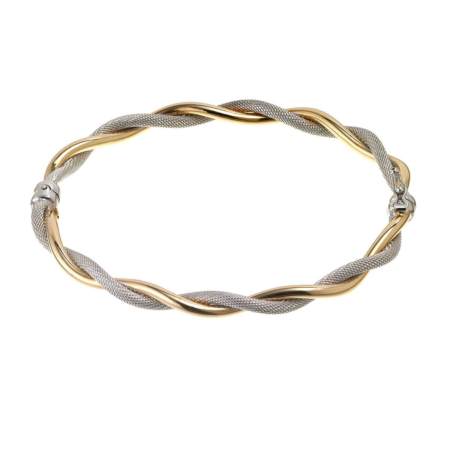 9ct Two Tone Gold Twist Bangle - Product number 6346243