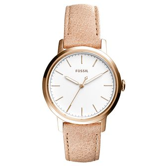 Fossil Ladies' White Dial Cream Leather Strap Watch - Product number 6348041