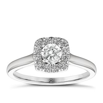 The Diamond Story 18ct White Gold 1/2ct Diamond Halo Ring - Product number 6357474