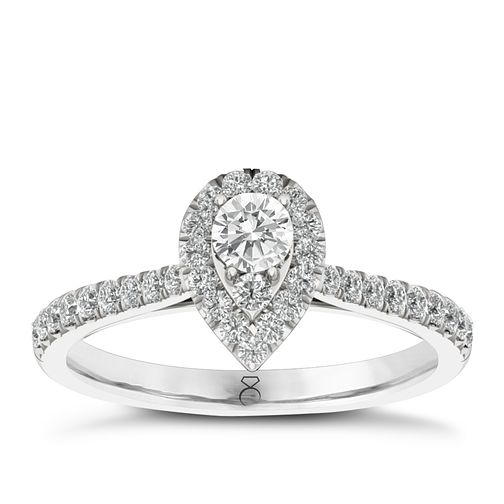 The Diamond Story 18ct White Gold 0.50ct Diamond Pear Ring - Product number 6358349