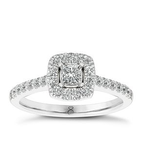The Diamond Story 18ct White Gold 0.66ct Halo Ring - Product number 6358799