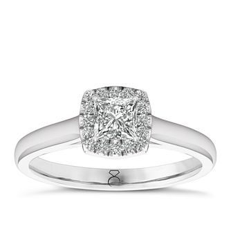 The Diamond Story 18ct White Gold 0.33ct Halo Ring - Product number 6360556