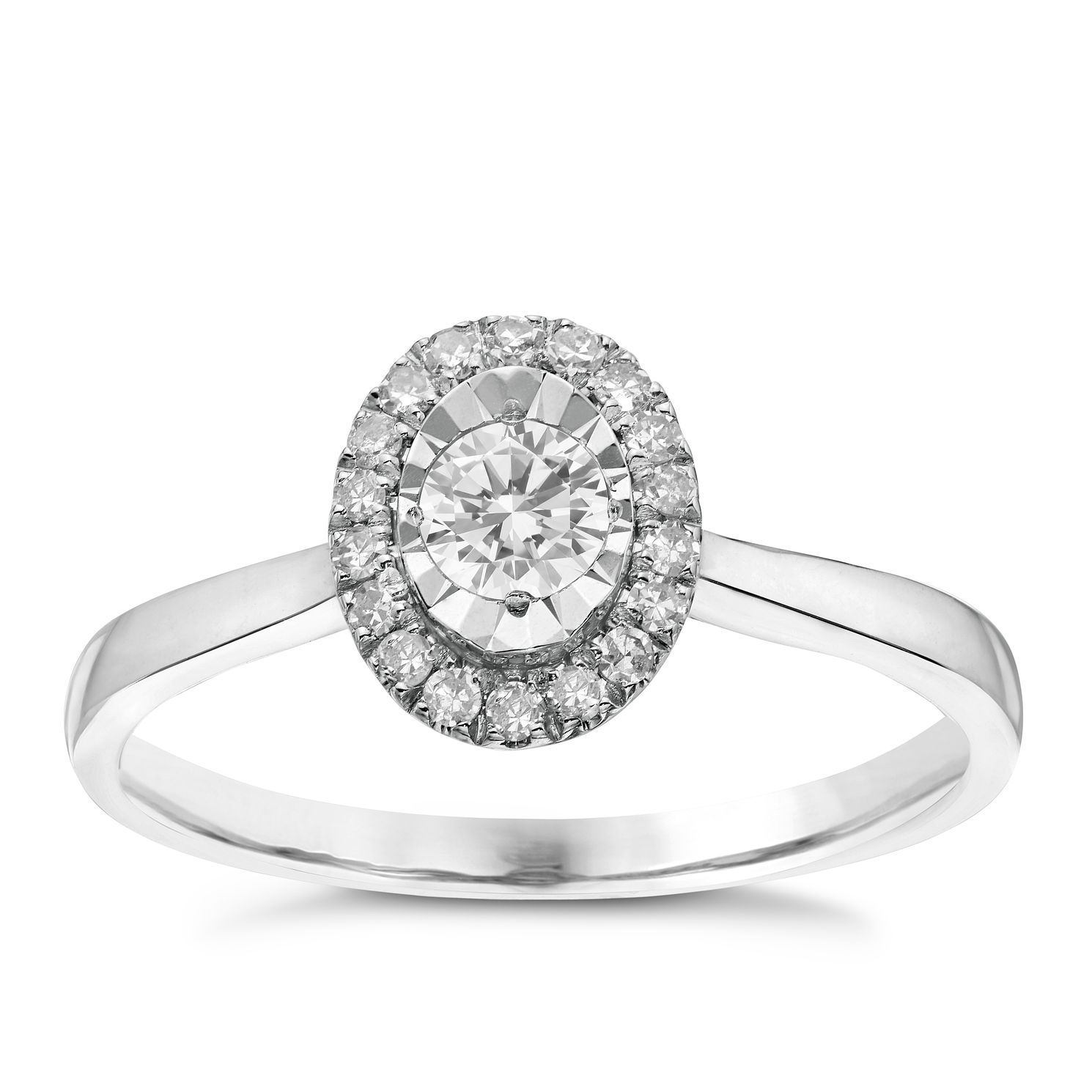9ct White Gold 1/4ct Diamond Oval Illusion Halo Ring - Product number 6363032
