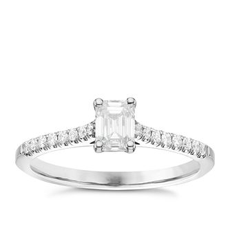 18ct White Gold 2/3ct Emerald Cut Diamond Solitaire Ring - Product number 6363822