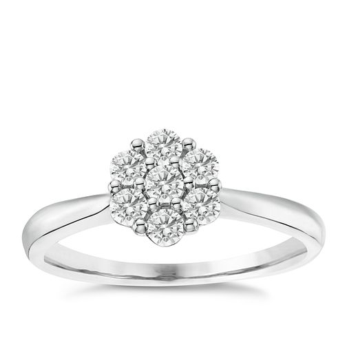 Platinum 0.35ct Diamond Flower Cluster Ring - Product number 6365809