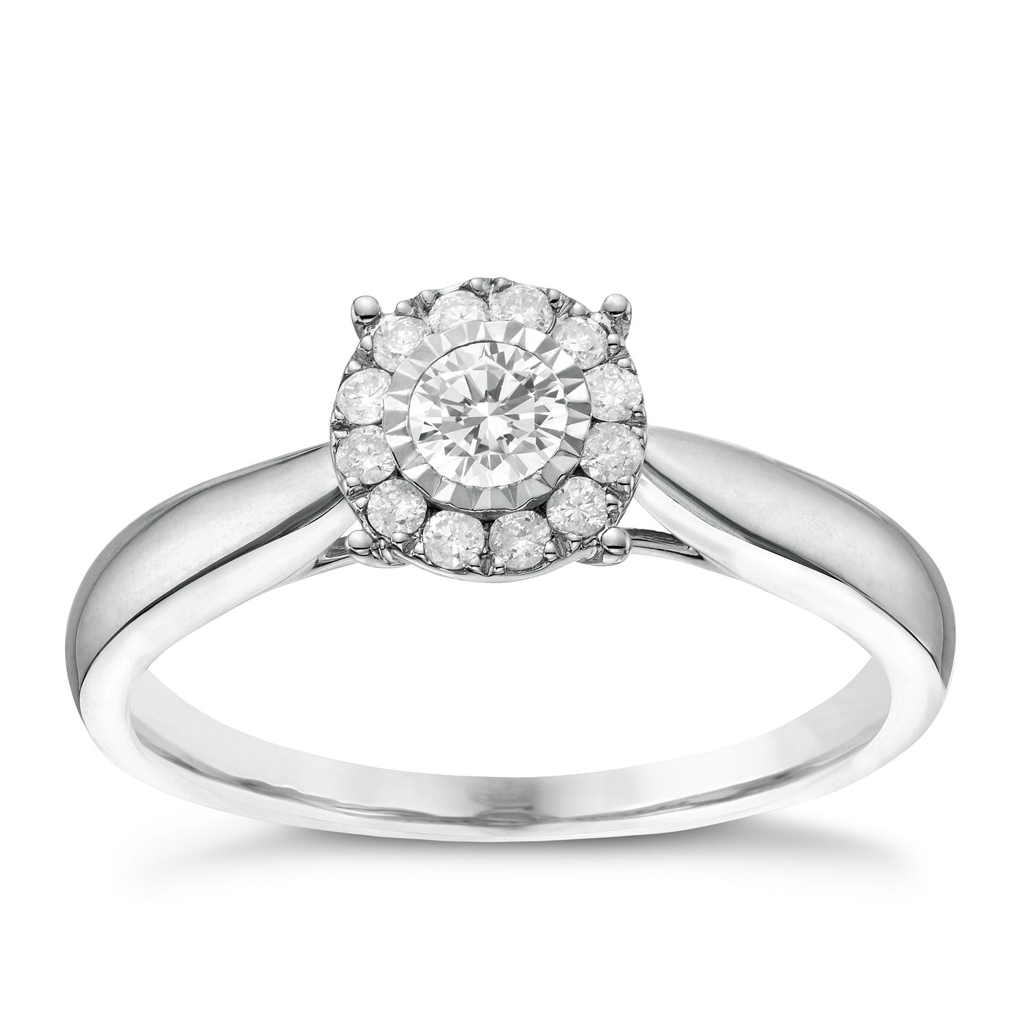 9ct White Gold 0.25ct Total Diamond Round Illusion Halo Ring - Product number 6366465
