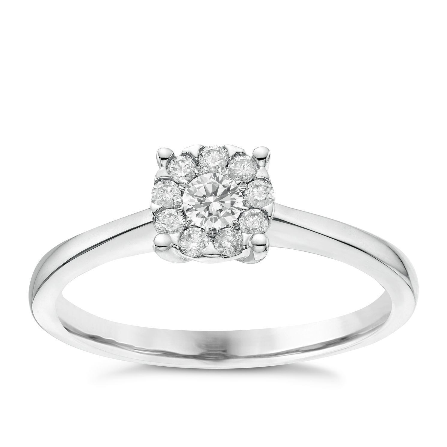 9ct White Gold 0.20ct Total Diamond Solitaire Cluster Ring - Product number 6367127