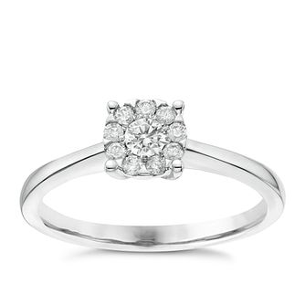 9ct White Gold 1/5ct Diamond Solitaire Cluster Ring - Product number 6367127