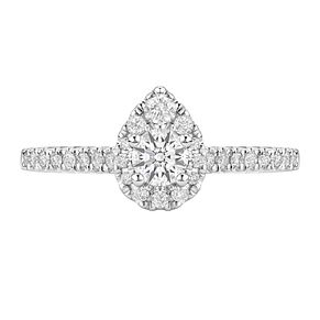 Tolkowsky 18ct White Gold 1/2ct Diamond Pear Halo Ring - Product number 6372546