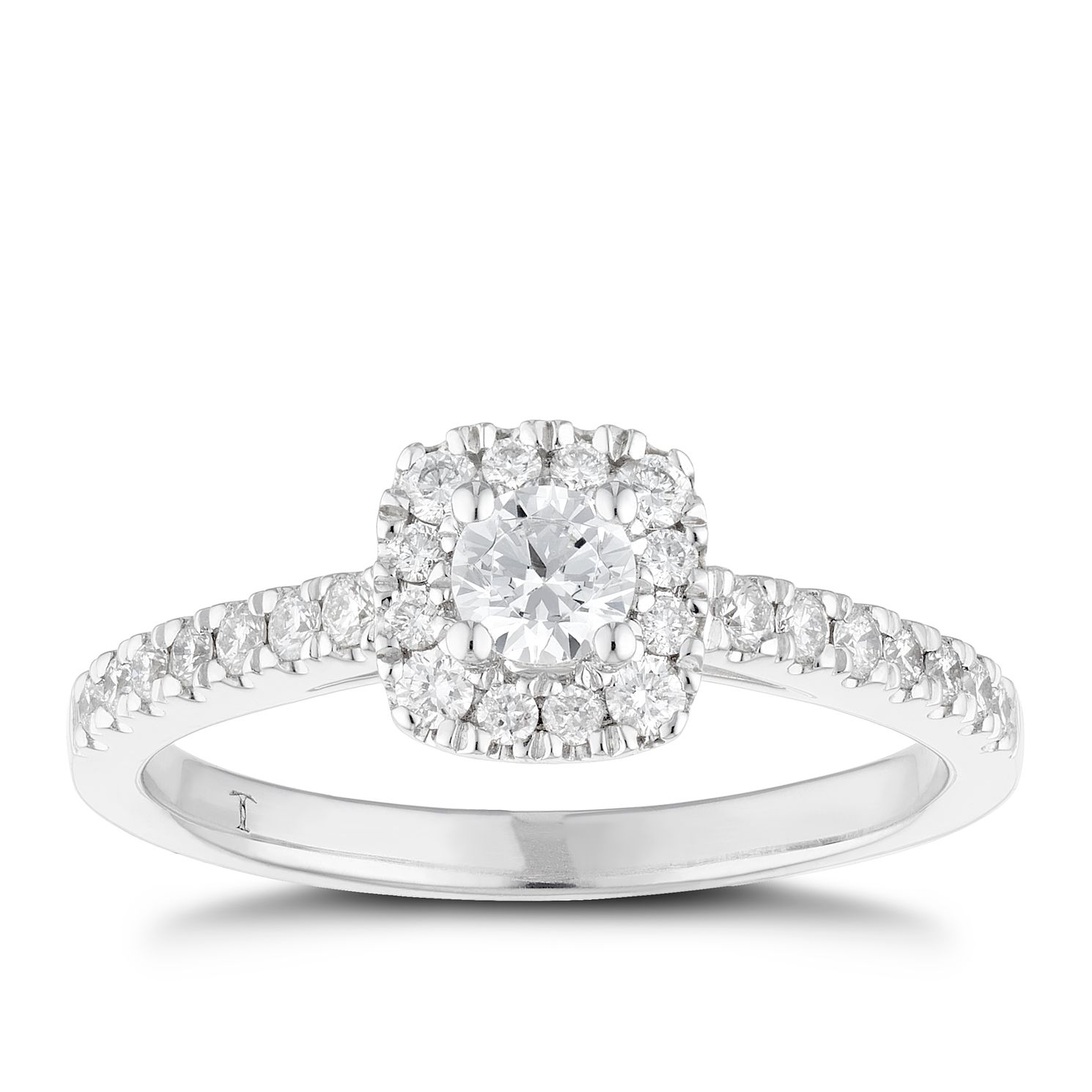 Tolkowsky 18ct White Gold 0.50ct Total Diamond Halo Ring - Product number 6373275