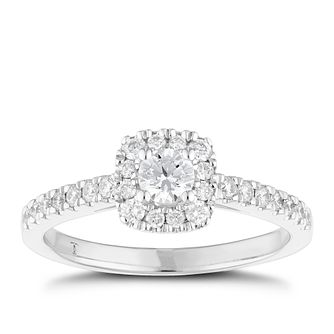 Tolkowsky 18ct White Gold 1/2ct Cushion Diamond Halo Ring - Product number 6373275