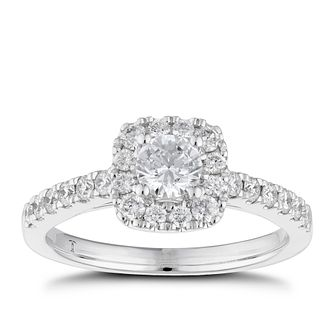 Tolkowsky 18ct White Gold 3/4ct Cushion Diamond Halo Ring - Product number 6373402