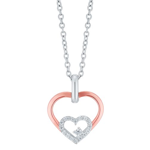 Silver & 9ct Rose Gold Cubic Zirconia Double Heart Pendant - Product number 6381677