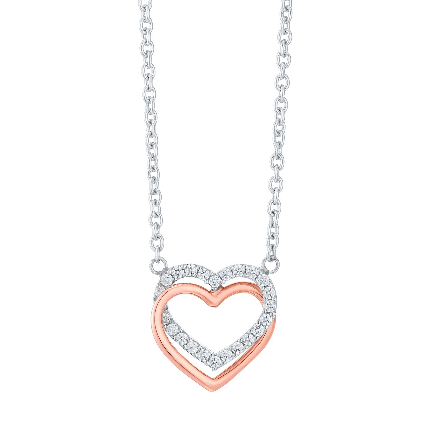 9ct Rose Gold & Silver Cubic Zirconia Linked Heart Necklace - Product number 6381715