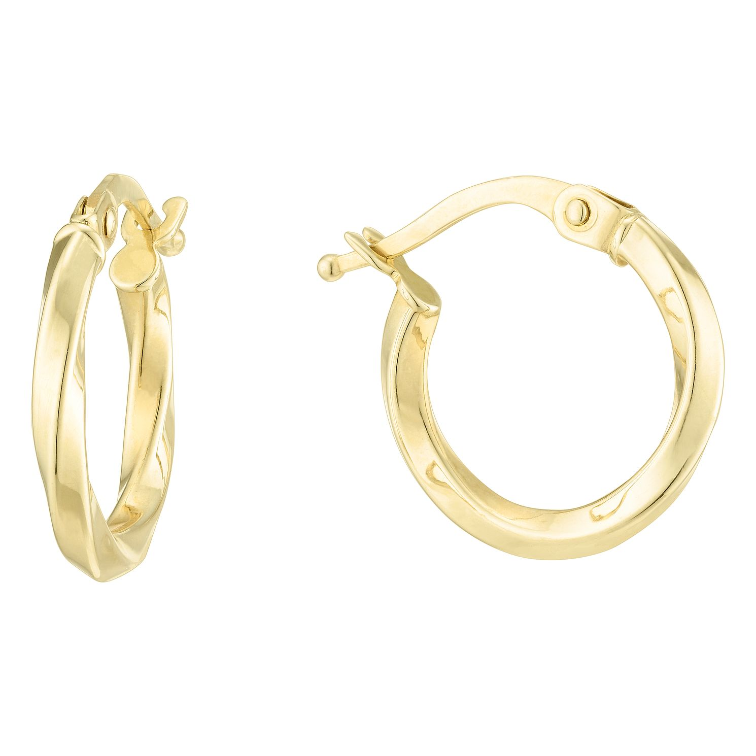 9ct Yellow Gold Twist 10mm Hoop Earrings - Product number 6382541