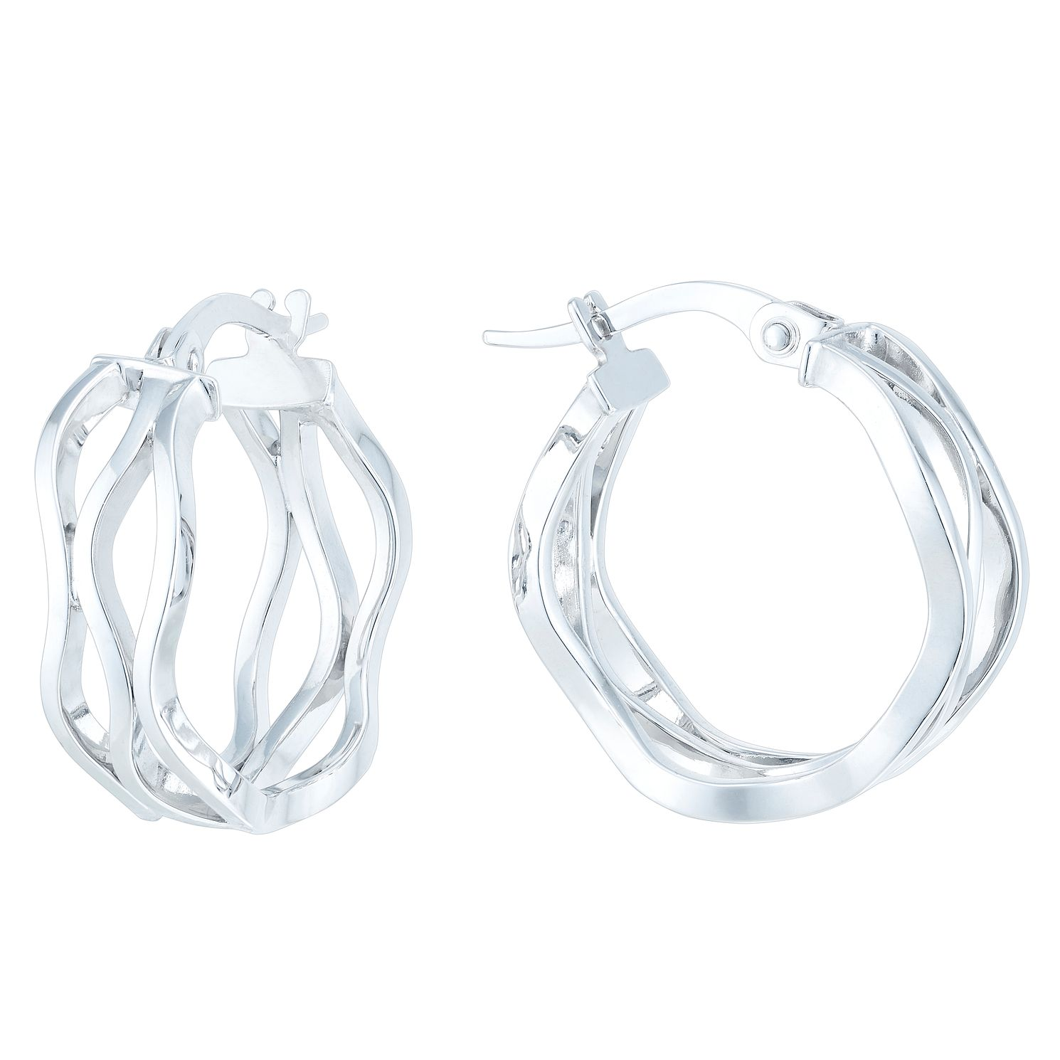 9ct White Gold Triple Wave Creole Earrings - Product number 6382576