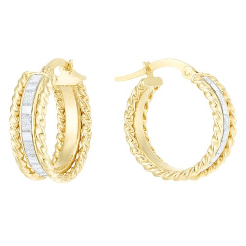 9ct Yellow Gold Sparkle Round Creole Earrings - Product number 6382622