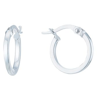9ct White Gold 10mm Hoop Earrings - Product number 6382630