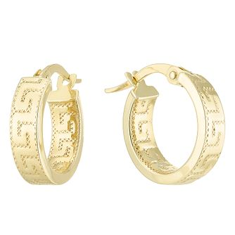 9ct Yellow Gold Greek Key Hoop Earrings - Product number 6382754
