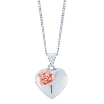 9ct Rose Gold & Silver Rose Flower Locket - Product number 6382959