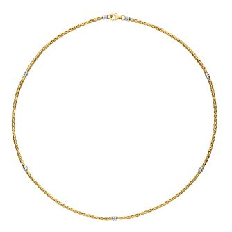 9ct Yellow & White Gold Stationed Spiga Chain - Product number 6383033